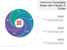 Core Icon Converging Shape With 4 Boxes In Center