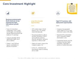 Core Investment Highlight Ppt Powerpoint Presentation Ideas