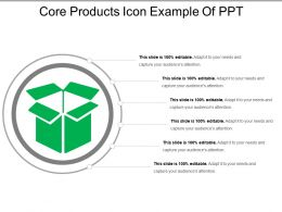 Core Products Icon Example Of Ppt