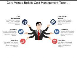 Core Values Beliefs Cost Management Talent Management Database Management