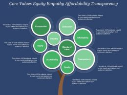 Core Values Equity Empathy Affordability Transparency
