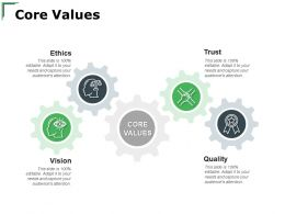 Core Values Ethics Quality Ppt Powerpoint Presentation Layouts Brochure