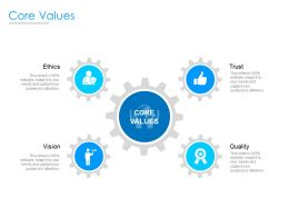 Core Values Quality Ethics Ppt Powerpoint Presentation Portfolio Design Ideas