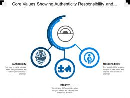 Core Values Showing Authenticity Responsibility And Integrity