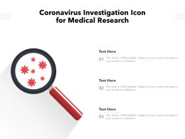 Coronavirus Investigation Icon For Medical Research