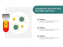Coronavirus Test Icon With Test Tube And Virus