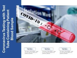 Coronavirus Testing With Test Tube Containing Patient Blood Sample