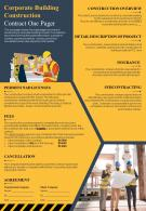 Corporate Building Construction Contract One Pager Presentation Report Infographic PPT PDF Document
