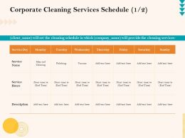 Corporate Cleaning Services Schedule Polishing Ppt Presentation File