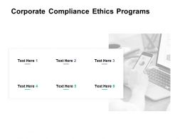 Corporate Compliance Ethics Programs Ppt Powerpoint Presentation Model Icon Cpb