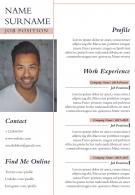 Corporate CV Editable A4 Resume Template To Introduce Yourself