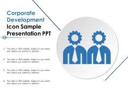 Corporate Development Icon Sample Presentation Ppt