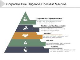 Corporate Due Diligence Checklist Machine Learning Data Analytics Cpb