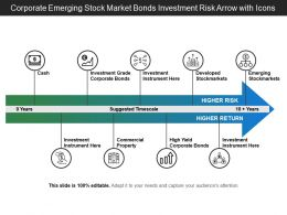 Corporate Emerging Stock Market Bonds Investment Risk Arrow With Icons