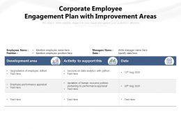 Corporate Employee Engagement Plan With Improvement Areas