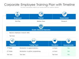 Corporate Employee Training Plan With Timeline