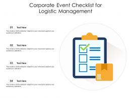Corporate Event Checklist For Logistic Management