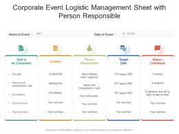 Corporate Event Logistic Management Sheet With Person Responsible