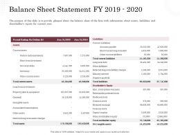 Corporate Financing Through Debt Vs Equity Balance Sheet Statement Fy 2019 To 2020 Ppt Powerpoint Slides
