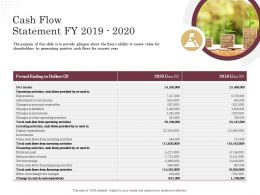 Corporate Financing Through Debt Vs Equity Cash Flow Statement Fy 2019 To 2020 Ppt Powerpoint Styles