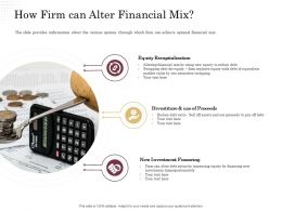 Corporate Financing Through Debt Vs Equity How Firm Can Alter Financial Mix Ppt Designs Download