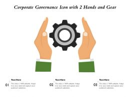 Corporate Governance Icon With 2 Hands And Gear