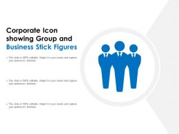 Corporate Icon Showing Group And Business Stick Figures