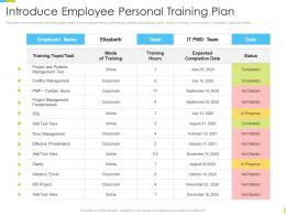 Corporate Journey Introduce Employee Personal Training Plan Ppt Powerpoint Structure