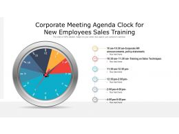 Corporate Meeting Agenda Clock For New Employees Sales Training