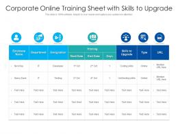 Corporate Online Training Sheet With Skills To Upgrade