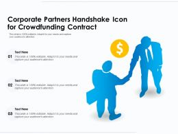 Corporate Partners Handshake Icon For Crowdfunding Contract
