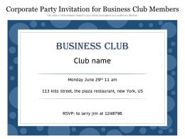 Corporate Party Invitation For Business Club Members
