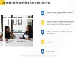Corporate Service Providers Agenda Of Accounting Advisory Service Ppt Powerpoint Show