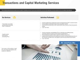 Corporate Service Providers Transactions And Capital Marketing Services Ppt Template