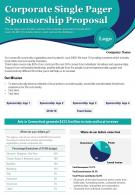 Corporate Single Pager Sponsorship Proposal Presentation Report Infographic PPT PDF Document