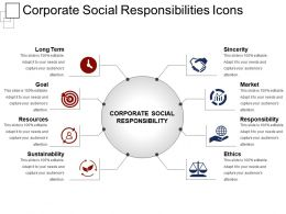 Corporate Social Responsibilities Icons Ppt Design