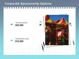Corporate Sponsorship Options Ppt Powerpoint Presentation Infographics Sample