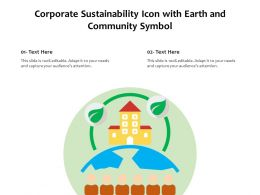 Corporate Sustainability Icon With Earth And Community Symbol