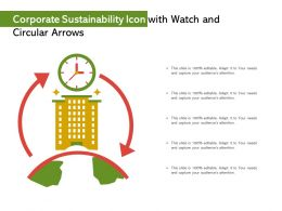 Corporate Sustainability Icon With Watch And Circular Arrows