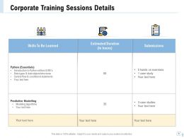 Corporate Training Sessions Details Submissions Ppt Example File