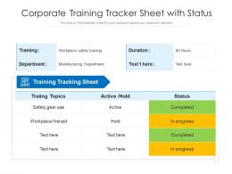 Corporate Training Tracker Sheet With Status
