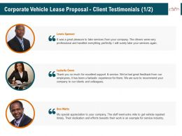 Corporate Vehicle Lease Proposal Client Testimonials R347 Ppt File Topics