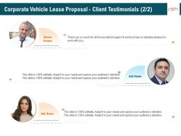Corporate Vehicle Lease Proposal Client Testimonials R348 Ppt File Aids