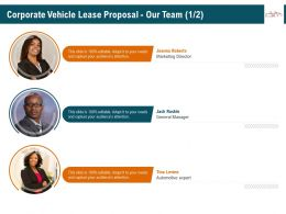 Corporate Vehicle Lease Proposal Our Team R349 Ppt Icon