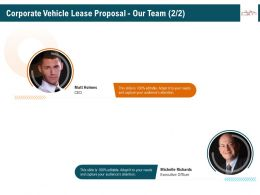 Corporate Vehicle Lease Proposal Our Team R350 Ppt Model