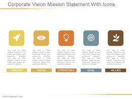 Corporate Vision Mission Statement With Icons Powerpoint Layout