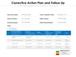 Corrective Action Plan And Follow Up