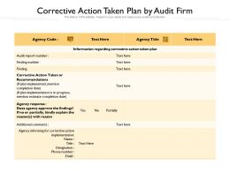 Corrective Action Taken Plan By Audit Firm