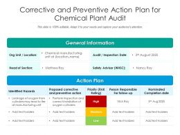 Corrective And Preventive Action Plan For Chemical Plant Audit