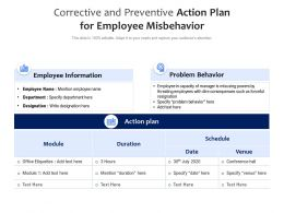 Corrective And Preventive Action Plan For Employee Misbehavior